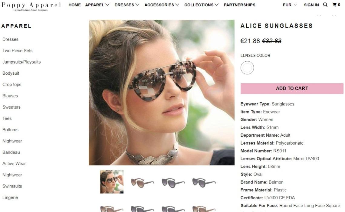 poppyapparel occhiali dettaglio
